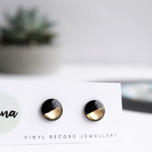 Gold dipped recycled vinyl record disc studs earrings