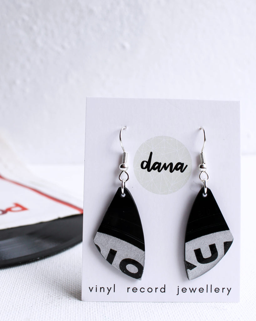 Graphic small upcycled dangle earrings in black and silver gray / vinyl jewelry