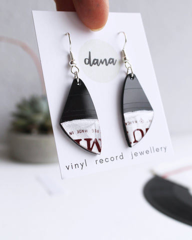 Small dangle earrings handmade from recycled vinyl record by DANA Jewellery