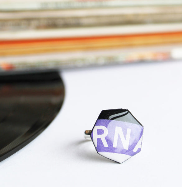 Modern geometric ring / recycled record jewelry