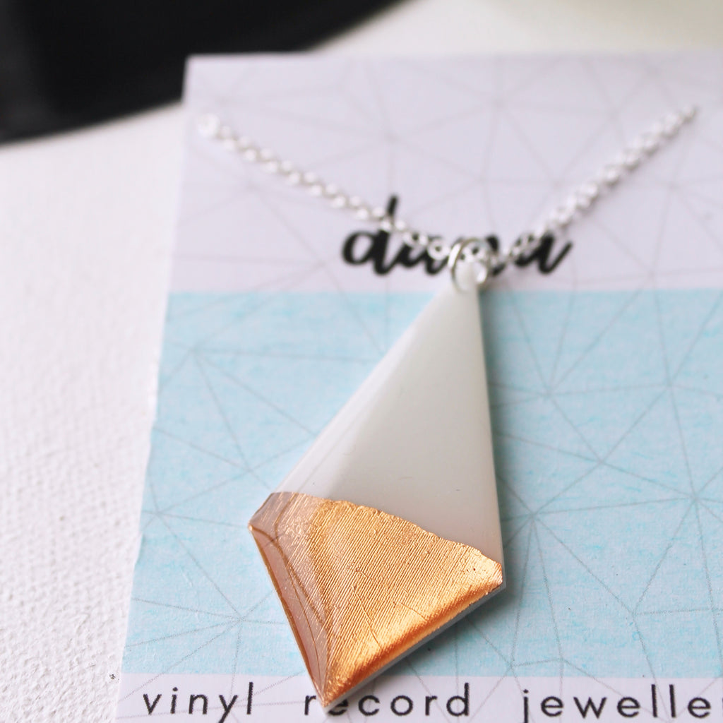 Boho chic vinyl record necklace in white and rose gold