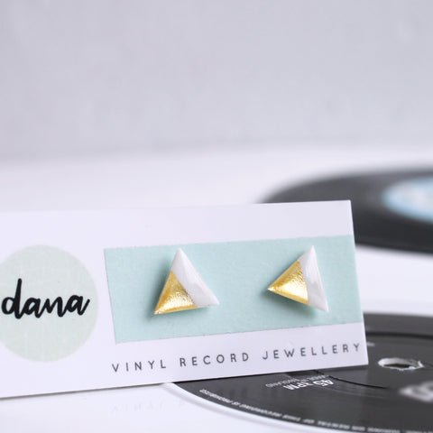 Gold dipped triangle vinyl record post earrings