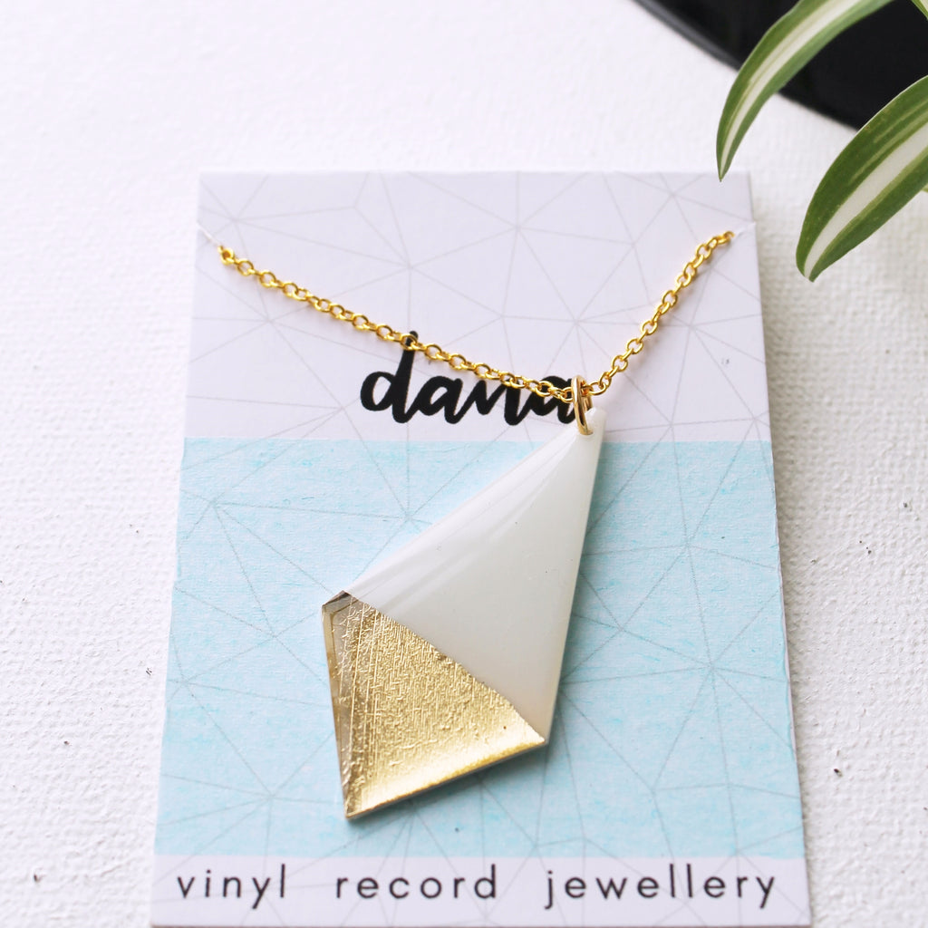 Modern geometric white and gold necklace made from record