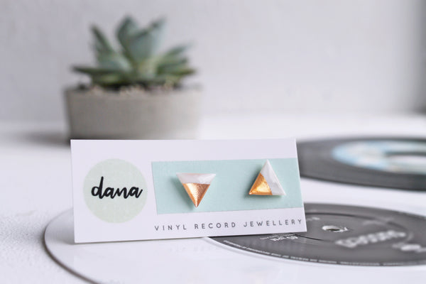 Triangle post earrings in white and rose gold / vinyl jewelry