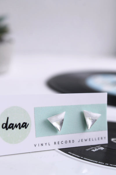 Contemporary white and silver triangle studs / vinyl record jewelry