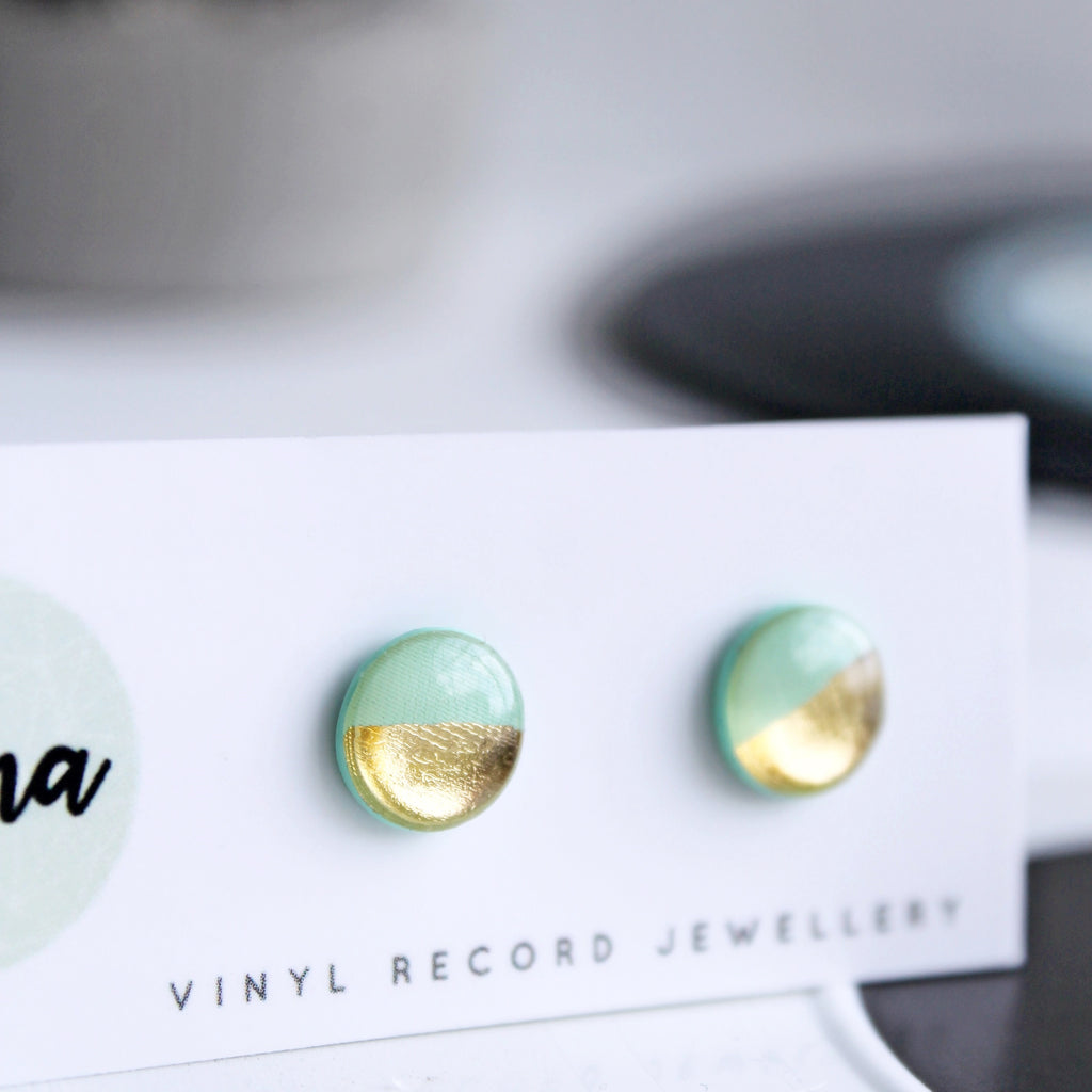 Gold and mint disc studs / vinyl record jewellery