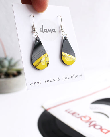 Teardrop yellow dangle earrings / ooak recycled vinyl jewelry