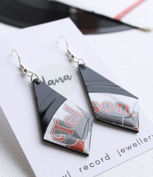 Retro musical earrings handmade from recycled vinyl record