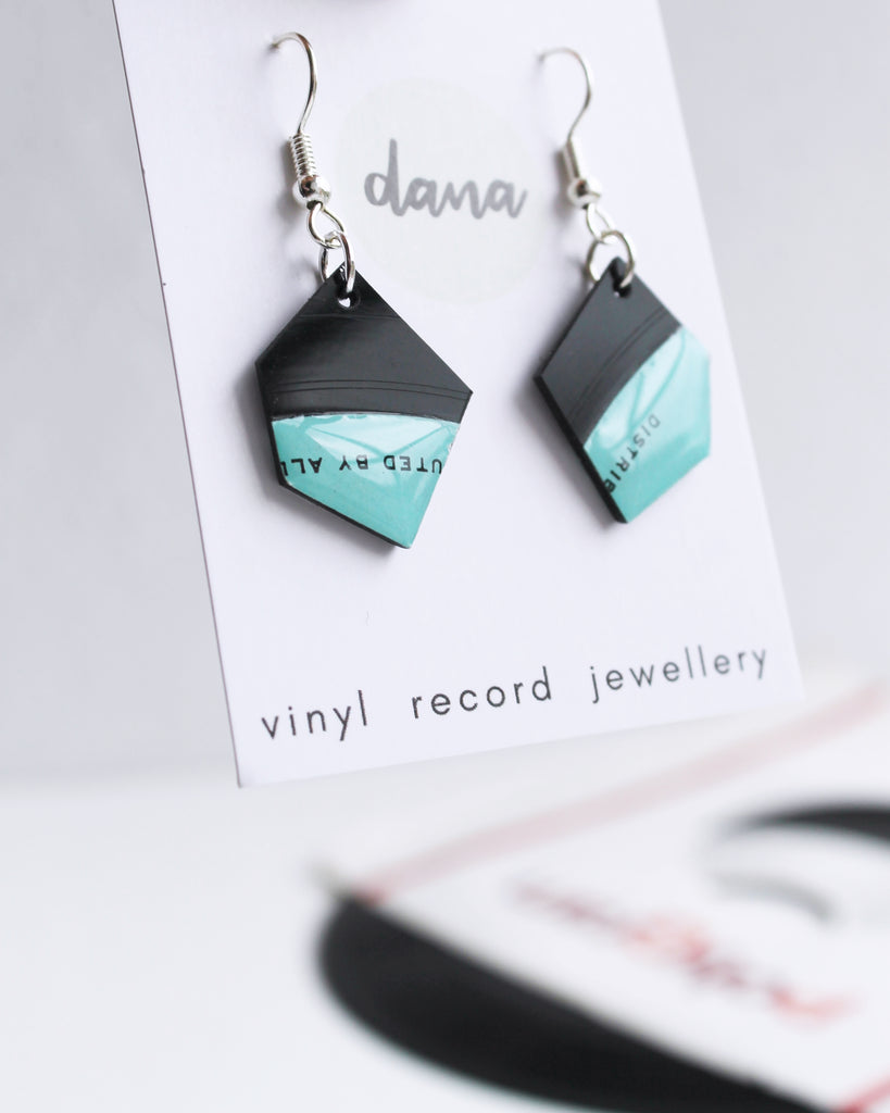 Fabulous black and aqua vinyl record nugget earrings / handmade recycled jewelry