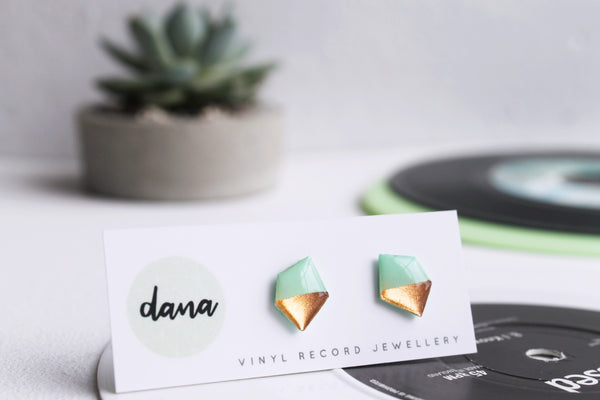 Geometric nugget stud earrings in mint and coppery rose gold