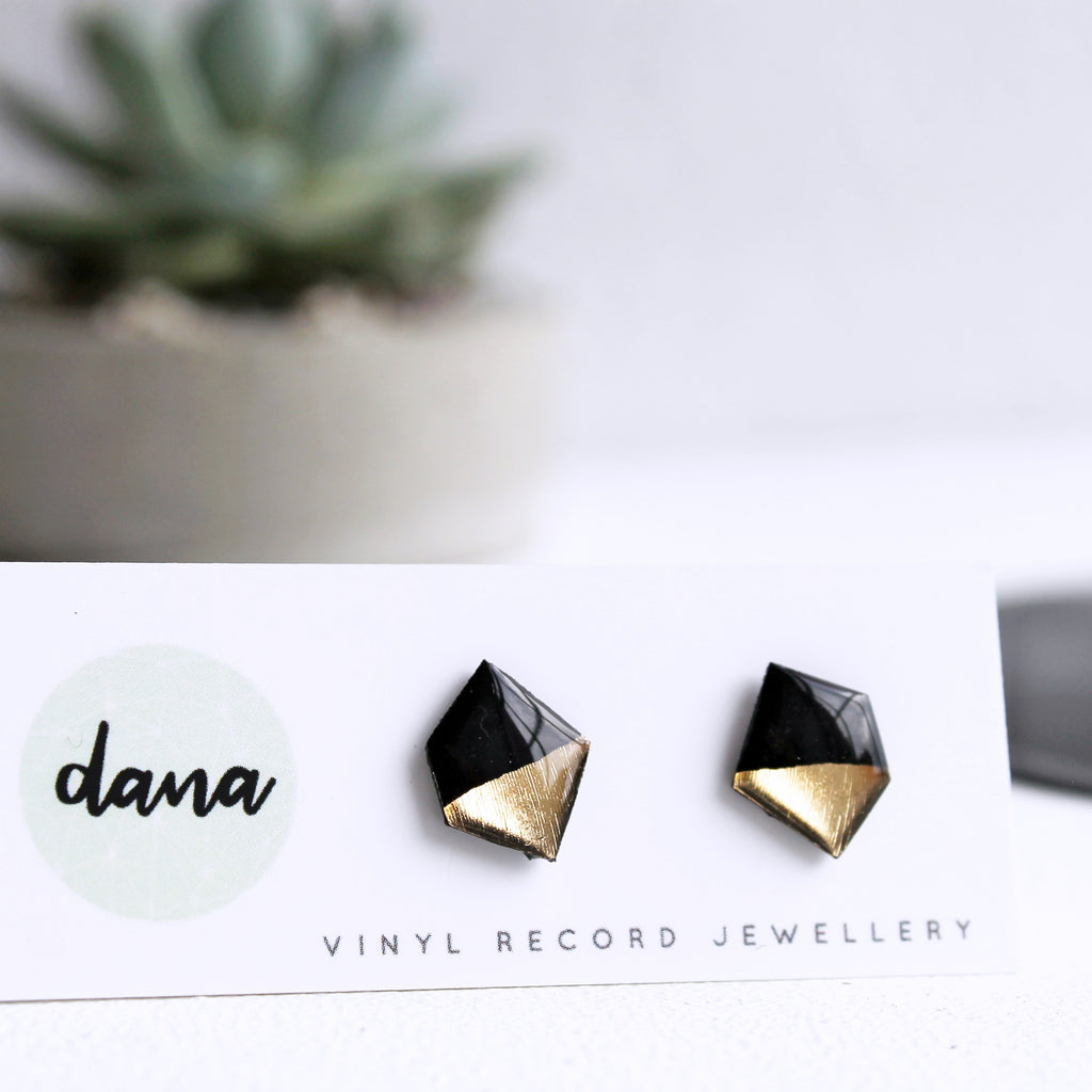 Black and gold nugget upcycled stud earrings / vinyl jewelry