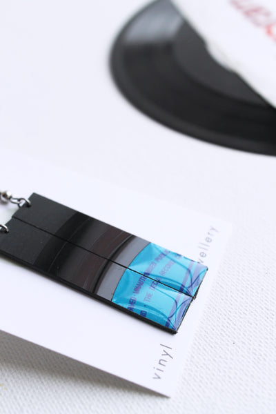 Handcrafted recycled rectangle earrings from vinyl records / black and blue earrings