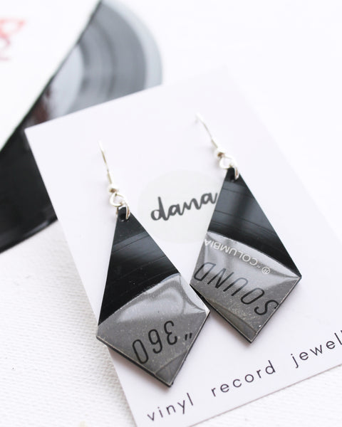 Unique recycled jewelry design / Geometric vinyl record earrings