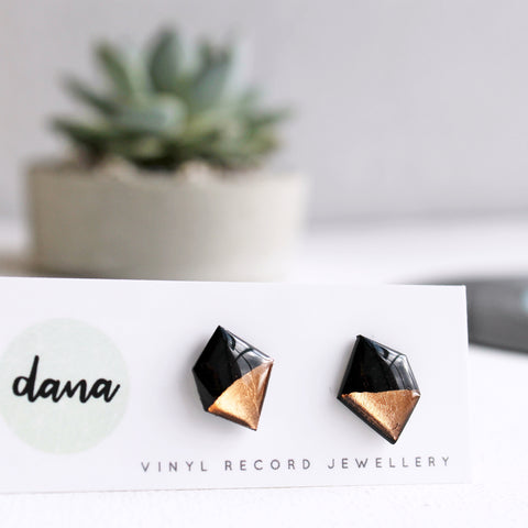 Copper dipped nugget vinyl record post earrings
