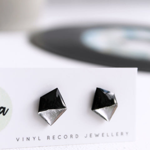 Geometric black and silver nugget vinyl record post earrings