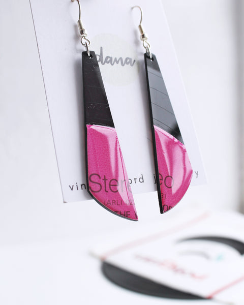 Hot pink fuchsia dangle earrings handmade from recycled vinyl record