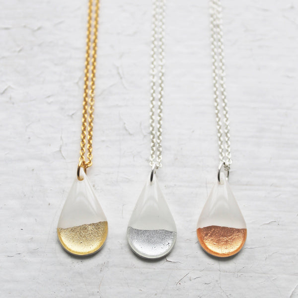 Dainty teardrop necklace in white and gold / vinyl jewelry