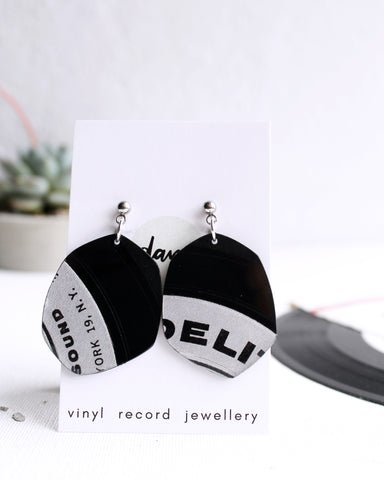 creative one of a kind earrings handmade from recycled vinyl record