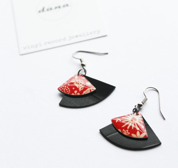 red geometric earrings