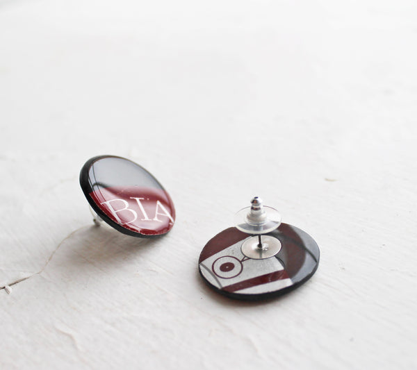 Deep red round upcycled studs / vinyl jewelry