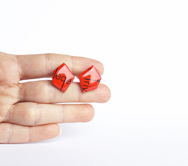 bright red recycled cufflinks