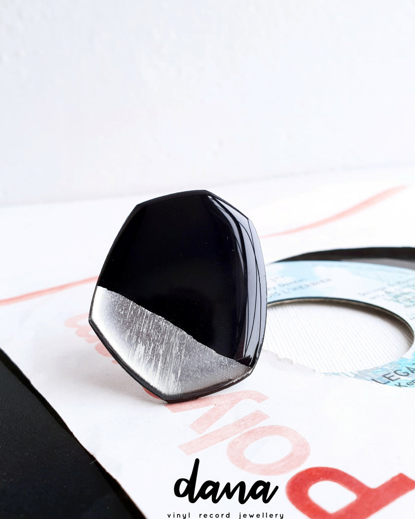 Large statement ring handmade from recycled vinyl record by Dana Jewellery