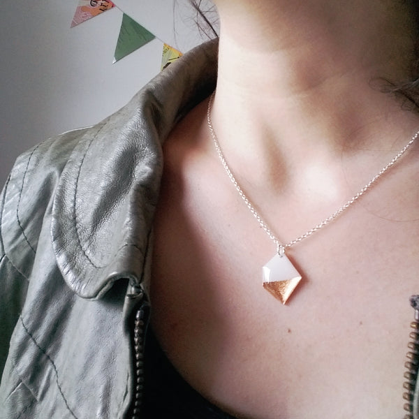 Geometric recycled white and rose gold necklace