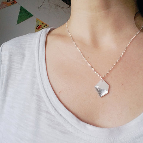 Modern nugget necklace in white and silver / record jewelry