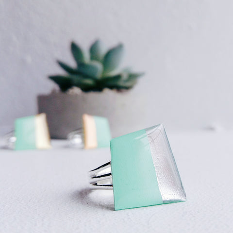 Contemporary vinyl record ring / silver dipped mint green