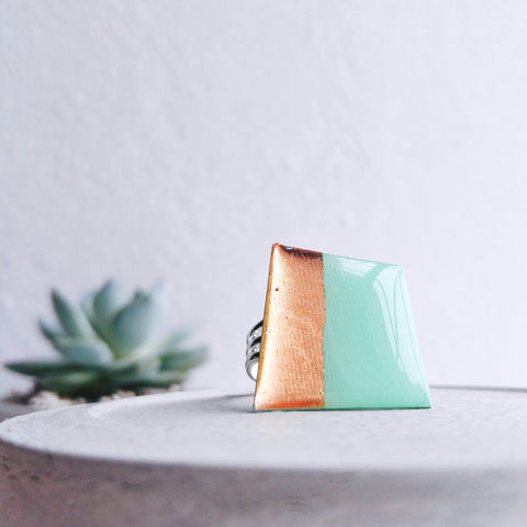 Geometric ring in coppery rose gold and mint green made from a vinyl record!