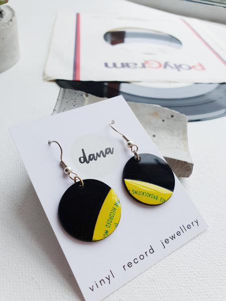 40% OFF Yellow and black disc vinyl record dangle earrings