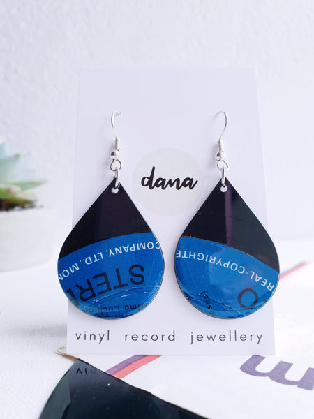 50% OFF Large blue drops dangle earrings made from vinyl record