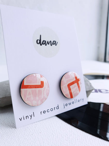 50% OFF abstract stud earrings made from upcycled vinyl record