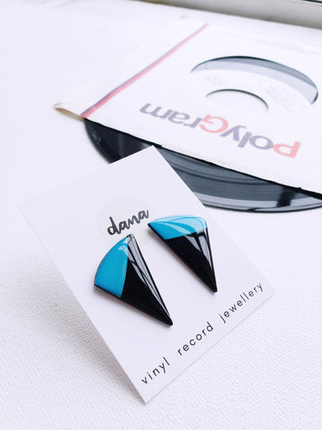 50% OFF funky blue stud earrings made from recycled vinyl record