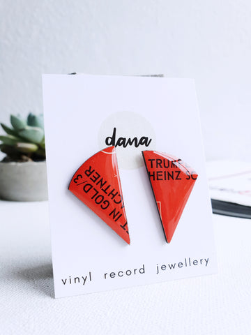 40% OFF bold red stud earrings made from recycled vinyl record