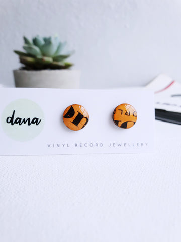 40% OFF - hypoallergenic one of a kind orange vinyl record studs