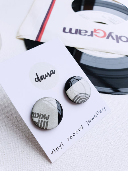 50% OFF grey disc stud earrings handmade from upcycled vinyl record