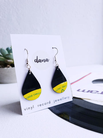 50% OFF Drop yellow and black dangle earrings made from vinyl record