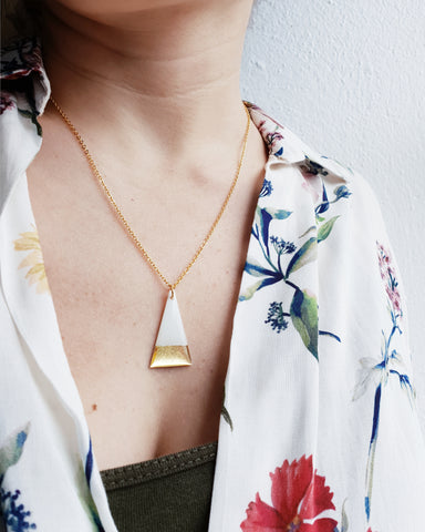 Gold dipped minimalist triangle necklace / vinyl record jewelry