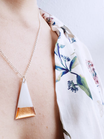 Simple white and rose gold triangle necklace / vinyl record jewelry