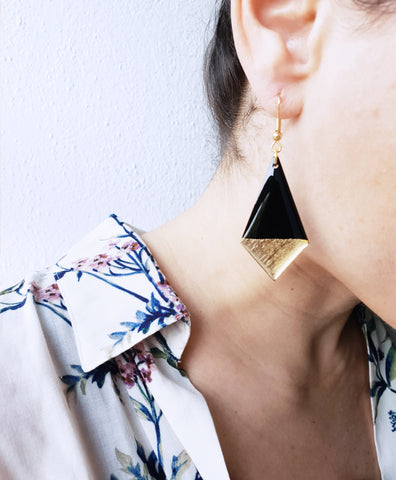 Gold dipped recycled vinyl earrings / vinyl record jewelry