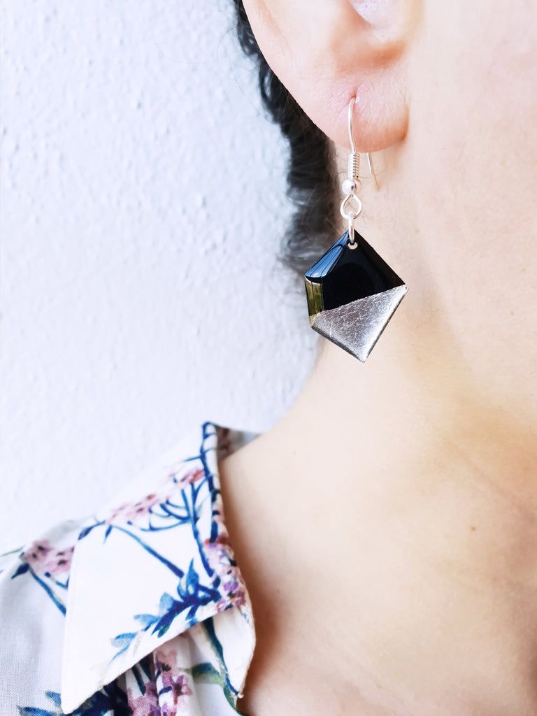 Silver dipped eco friendly earrings / record jewelry