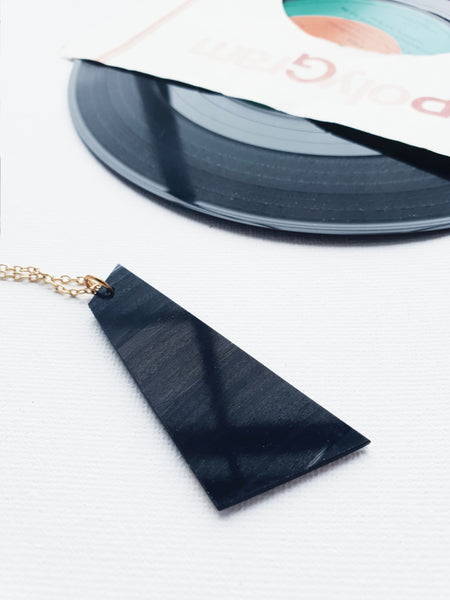 50% OFF bold large geometric vinyl record necklace black and copper