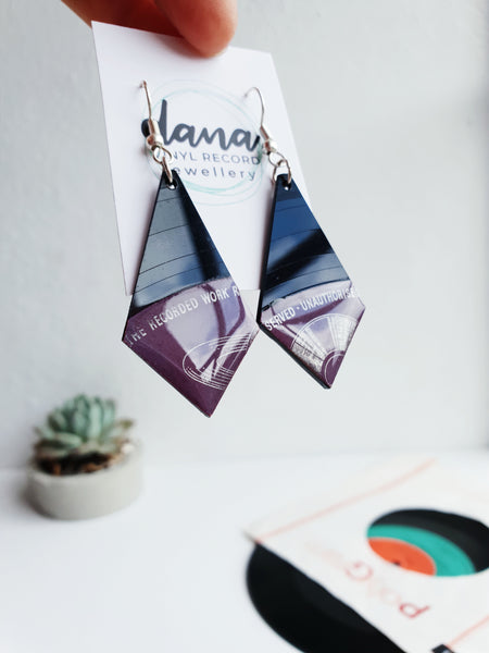 Black and plum long geometric vinyl record earrings