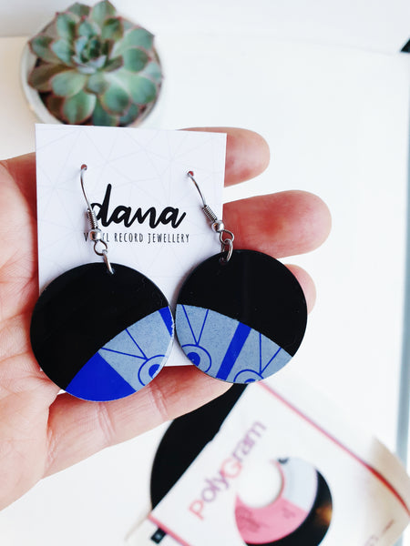 25% OFF upcycled large disc vinyl record earrings in blue and grey