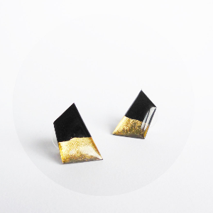 Black and gold contemporary stud earrings