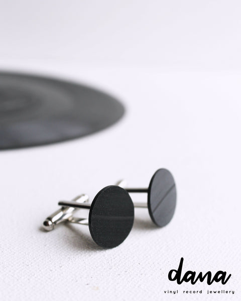 vinyl record cufflinks / recycled gift for him