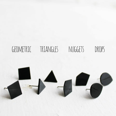 Black vinyl record stud earrings