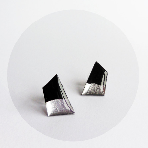 Minimalist silver dipped vinyl stud earrings
