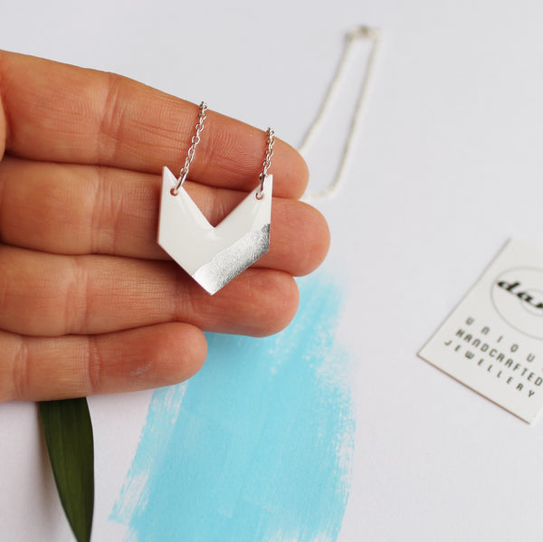 Dainty white and silver chevron necklace